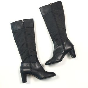 Coach Monogram Logo Gail Riding Leather Boots 7.5